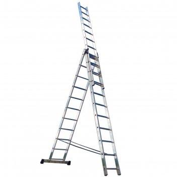 Лестница трехсекционная ремоколор 63-3-012, универсальная, алюминиевая, 12