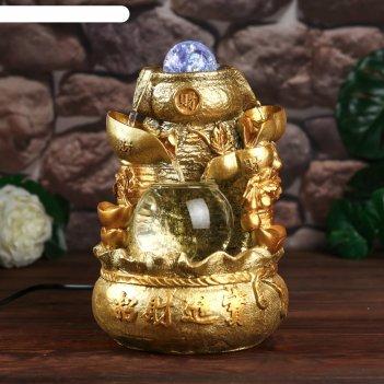 Фонтан настольный от сети, подсветка мешок с золотыми слитками золото 26х1