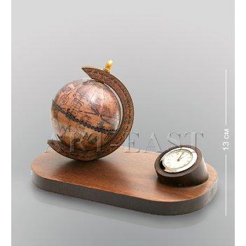 (530) глобус на подст.с часами  h 13 cм