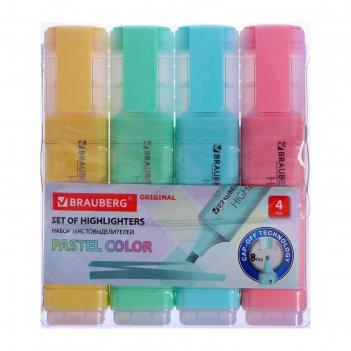 Набор маркеров текстовыделителей 4цв brauberg original pastel, линия 1-5 м