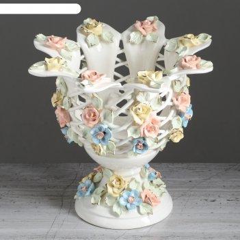 Ваза для конфет тюльпан, цветная лепка, цветы, плетение, 22 см, микс