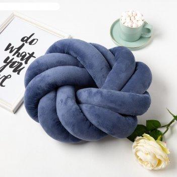 Подушка-узел этель, d=33см, цв. синий, велюр