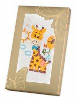 """Полотенце 50*90см  """"азбука-жираф"""", хлопок 100%, 380г/м.кв, белое"""