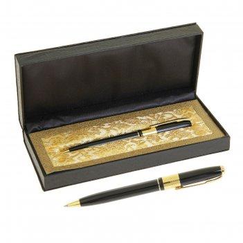 Ручка шариковая, подарочная, в кожзам футляре, поворотная, «босс», чёрная