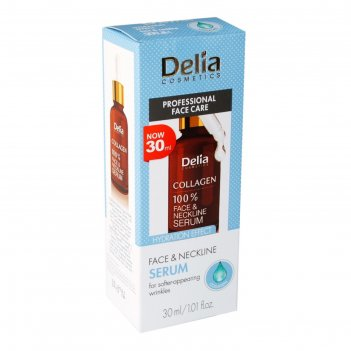 Сыворотка от морщин для лица, шеи, декольте delia collagen, 30 мл