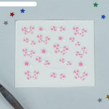 Наклейки для маникюра бантик, цвет бело-розовый