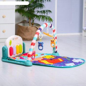 Развивающий коврик «слоник», с пианино, голубой