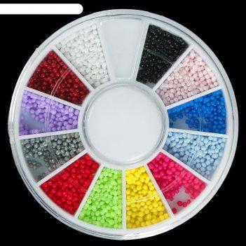 Набор для дизайна ногтей карусель 12 ячеек шарики микс