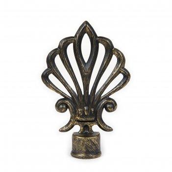Наконечник «веер», 2 шт, d=16 мм, цвет коричневое золото