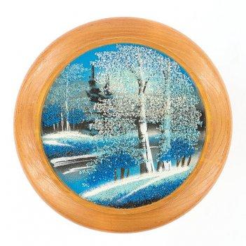 Тарелка декоративная зима д-15см