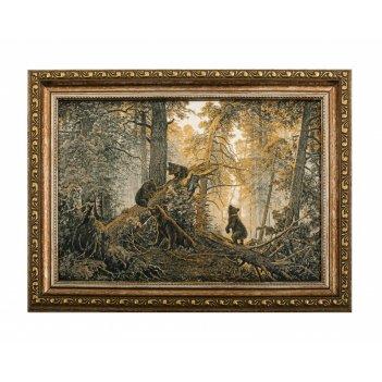 Панно репродукция утро в сосновом лесу (покрытие золотом, сере