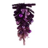 Елка подвесная настенная с фиолетовым декором, высота 60 см