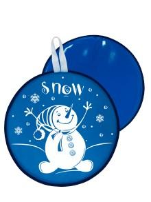 Мт13217 сани-ледянка круглая снеговик цвет голубой, 40,5см