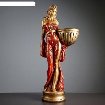 Фигурное кашпо девушка в платье бронза красный  87см