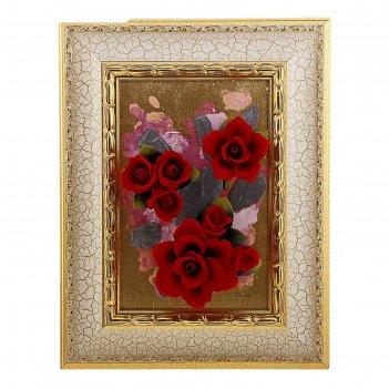 Картина красные розы, серия арт-деко