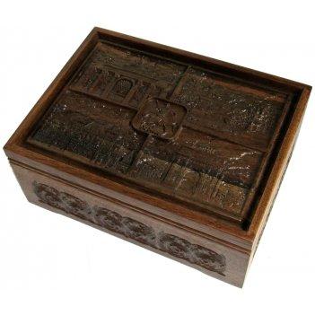 Набор покерный: 500 фишек, две колоды карт и кости в резном ларце из масси
