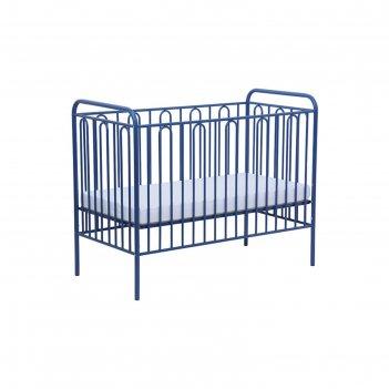 Детская кроватка polini kids vintage 110 металлическая, цвет синий