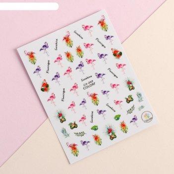 Наклейки для ногтей ca-049 фламинго подложка qf