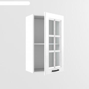 Шкаф навесной в400 со стеклом вегас, 300х400х720, белый