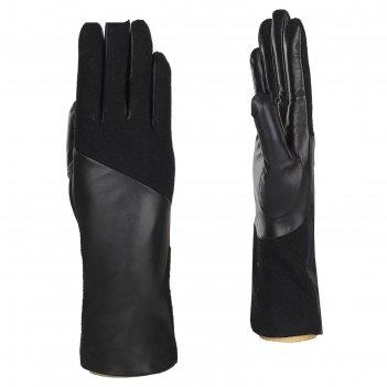 Перчатки женские натуральная кожа/шерсть (размер 6.5) черный
