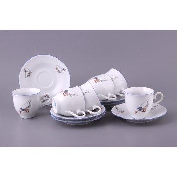 Чайный набор на 6 персон 12 пр. гуси 190 мл