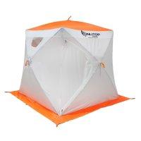 Палатка призма 170 (2-сл) люкс композит, бело-оранжевая
