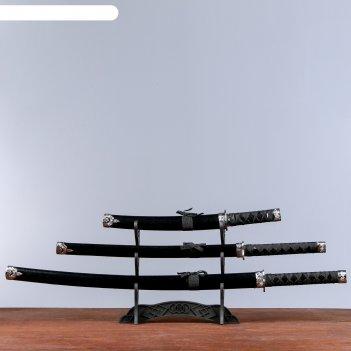 Катаны сувенирные 3в1 на подставке, черные ножны, под змею