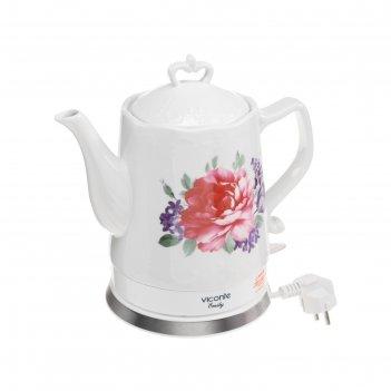 Чайник электрический viconte vc-3292, 2000 вт, 1.7 л, керамика, белый с цв