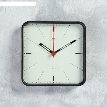 Часы настенные, серия классика, плавный ход 19х19см, корпус черный
