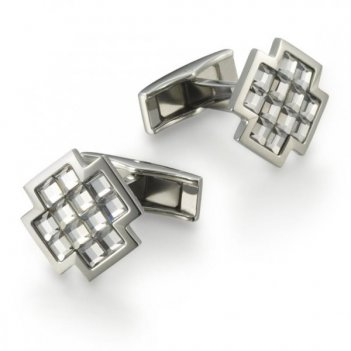 Запонки в форме креста, swarovski, сталь/серебряный