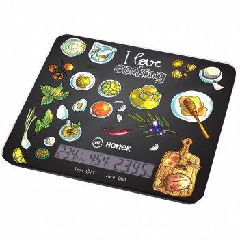 Весы кухонные i love cooking hottek ht-962-039 с отображением тем-ры и вре