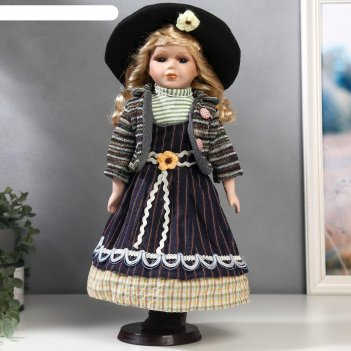 Кукла коллекционная керамика блондинка с кудрями, фиолетовый полосатый сар