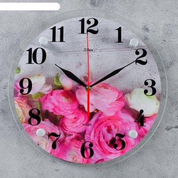 Часы настенные, серия: цветы, розовые пионы, 30 см