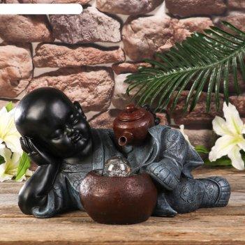 Фонтан настольный полистоун свет маленький будда и чайная церемония 21х27х