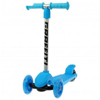 Самокат graffiti, колеса световые pu 120/100 мм, цвет голубой