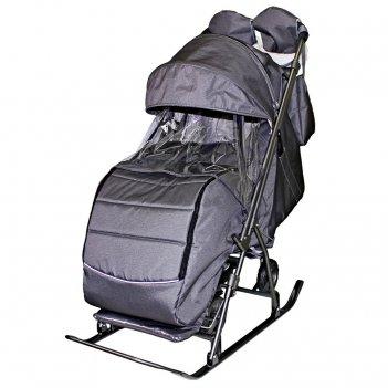 Санки-коляска snow galaxy kids-3-2-с серебро на больших колесах+сумка+варе