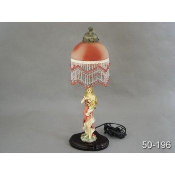 Светильник девушка с цветами+плафон высота=52 см.e27 40w б