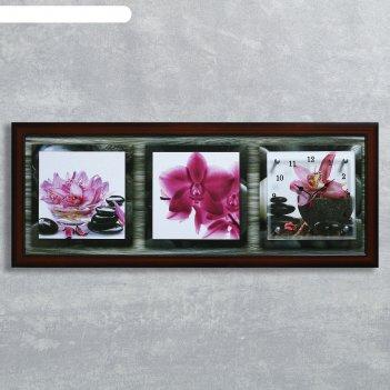 Часы-картина настенные, серия: цветы, розовые орхидеи, 35х100  см, микс