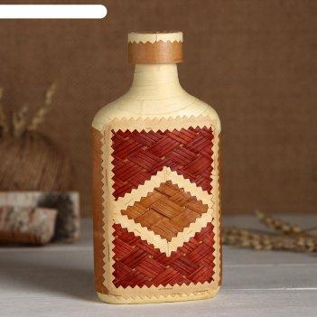 Фляжка «сувенирная», оформленная берестой, плетение и тиснение, микс, бере