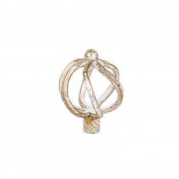 Наконечник «булава», 2 шт, диаметр 16 мм, цвет слоновая кость/золото