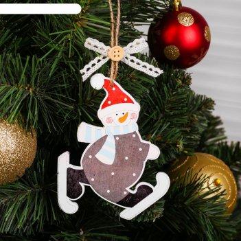 Новогодняя подвеска «снеговики на коньках» микс