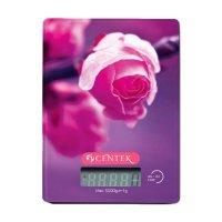 Весы кухонные centek ct-2459, электронные, до 5 кг, рисунок розы