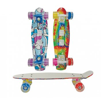 Скейт navigator пласт с рисунком.,кол.pu 57х44мм со светом, втулки pu, кра