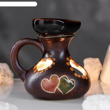 Аромалампа кувшин сердечко коричневая