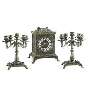Часы ларец каминные, 2 канделябра на 5 свечей, антик