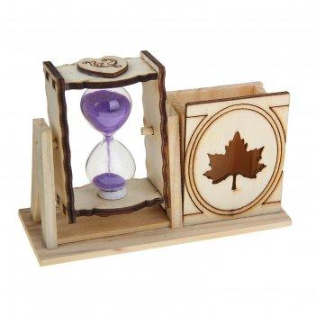 Часы песочные с карандашницей кленовый лист 10х13,5х5 см