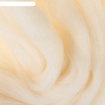 Шерсть для валяния 100% полутонкая шерсть 50 г (205, белый)
