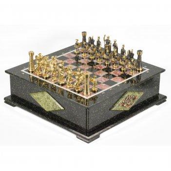 Шахматный ларец фигуры римские змеевик 420х420х150 мм 30 кг