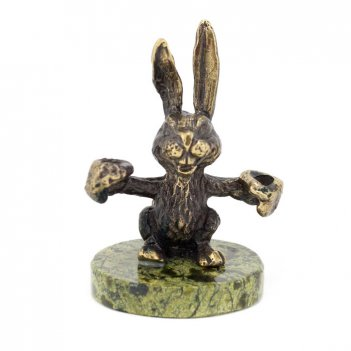 Статуэтка заяц боксер бронза змеевик