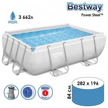 Бассейн каркасный frame pool set, 282 х 196 х 84 см, фильтр-насос bestway